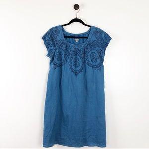 J. Jill Embroidered Linen Shift Dress Blue M